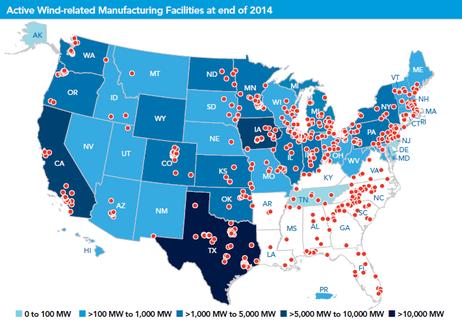 (図3)AWEA 風力発電製造施設のマップ