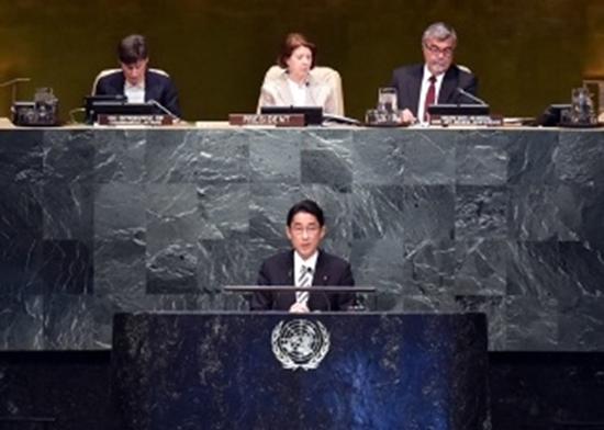 2015NPT運用検討会議で演説を行う岸田外務大臣(写真出典:外務省)
