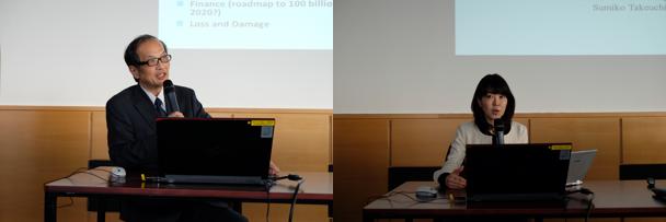 プレゼンを行う有馬教授(左)と竹内主席研究員(右)(写真出典:在ウィーン国際機関日本政府代表部)